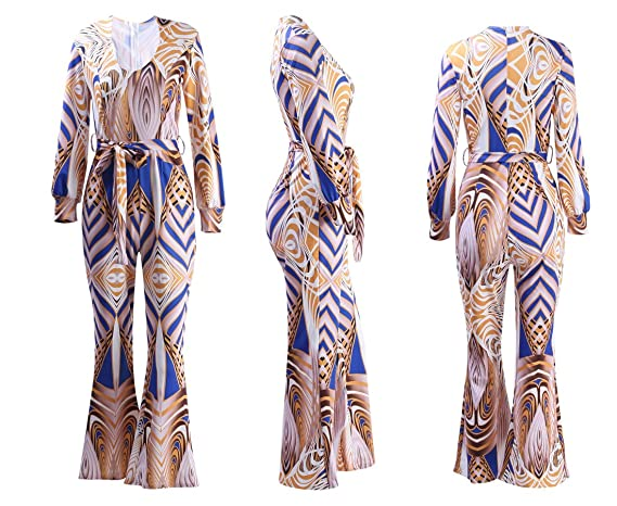 1938d23c38ef Amazon.com  Gamery Women s Fall V Neck Wide Leg Long Pants Plus Size Jumpsuits  Rompers Outfits with Sleeve Yellow X-Large  Clothing