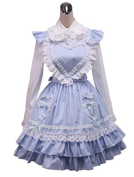 antaina Vestido de cosplay lolita dulce Victoriana de encaje azul de la colmena de algodón,