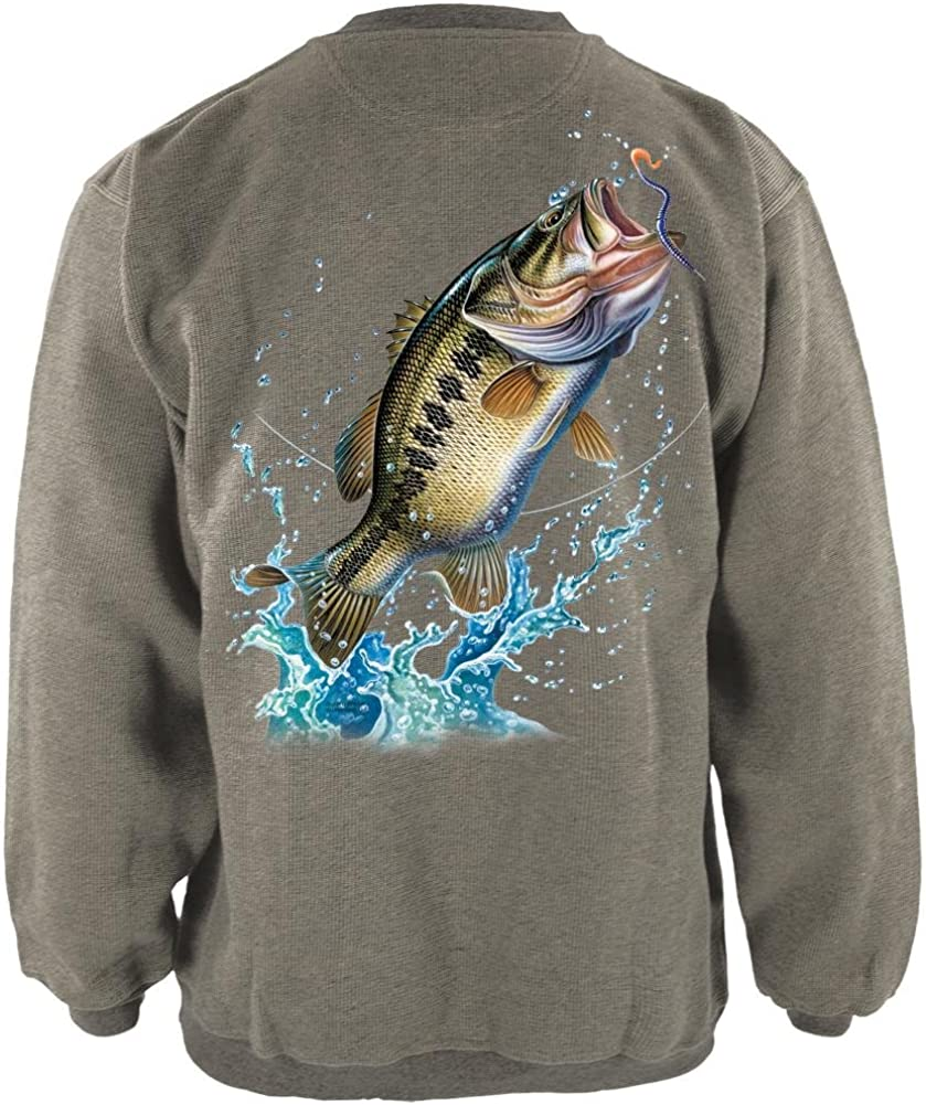 Bass Leaping in Action Henley Mens Pullover Sweatshirt