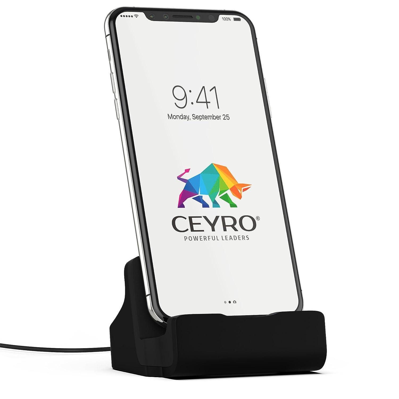 Base de recharge CEYRO - Station d'accueil pour gadgets Apple - Station d'accueil moderne pour iPhone X - Compatible avec iPad Touch - Base de recharge grise sur socle - Design moderne et minimaliste
