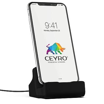 CEYRO Ladestation Ladegerät Docking-Station kompatibel mit iPhone XS Max X 8 7 6 6S 5 SE und i-Pod Touch Dock-Station in schw