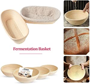 "5""6""7""8""9""10"" Round Brotform Banneton Proofing Baskets with Linen Liner Clot, Dough Rising Rattan Bread Bowl for Professional & Home Bakers (10"", Round shape)"