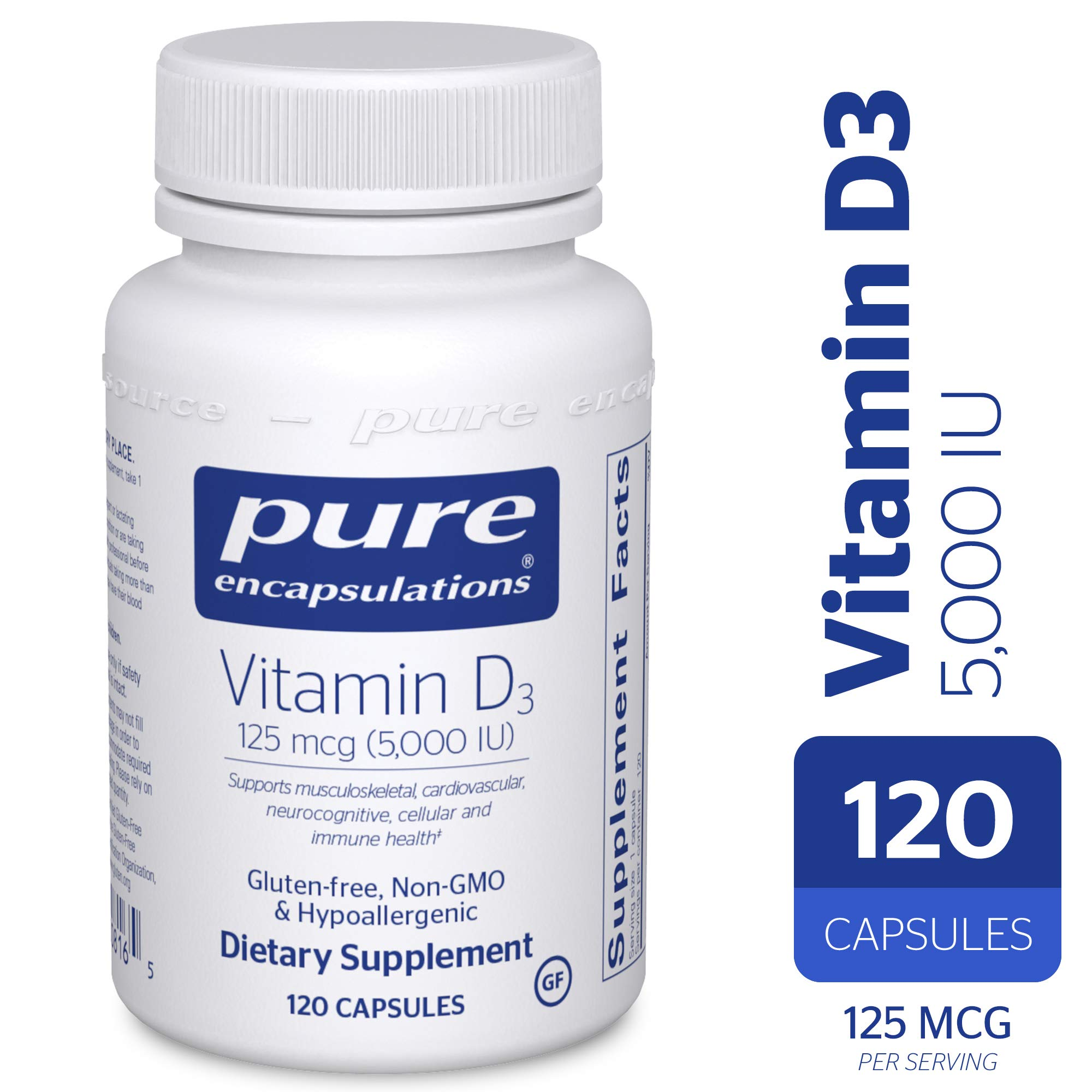 Pure Encapsulations - Vitamin D3 125 mcg (5,000 IU) - Hypoallergenic Support for Bone, Breast, Prostate, Cardiovascular, Colon and Immune Health* - 120 Capsules by Pure Encapsulations