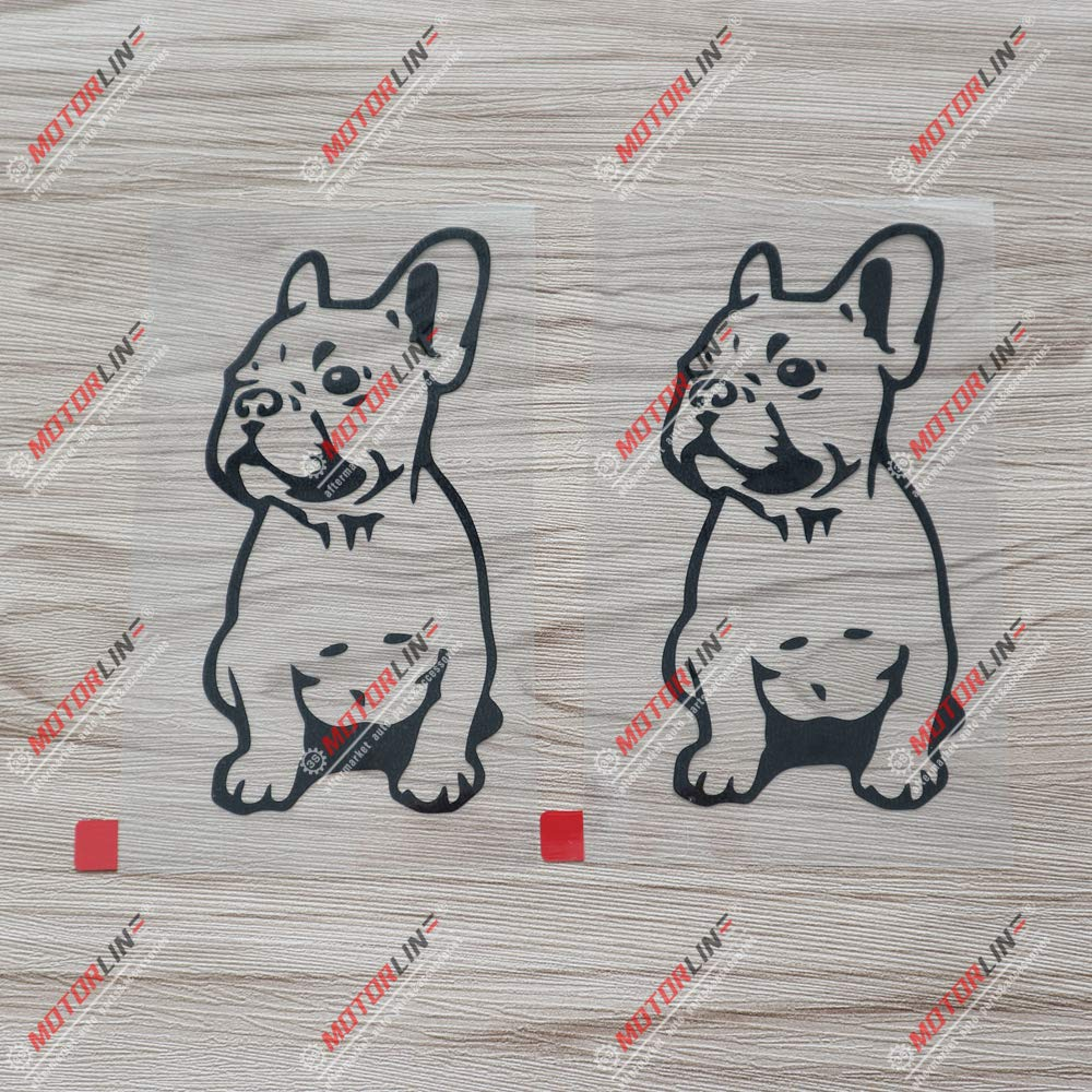 3S MOTORLINE 2X Black 5 French Bulldog Dog Frenchie Decal Sticker Car Vinyl die Cut no Background