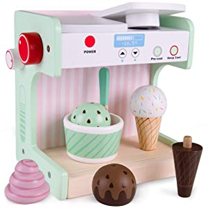 Ice Cream Maker Playset | Classic Wooden Play Food and Pretend Accessories | 9 Pieces, Including Mixing Station, Cup, Spoon, Cones, and Four Dessert Flavors