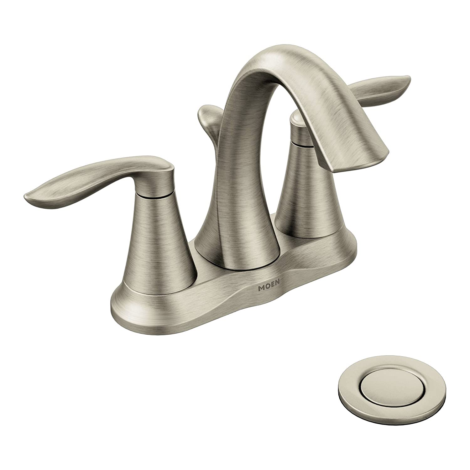 Amazon.com: Moen Eva Two Handle Centerset Bathroom Faucet With Drain  Assembly, Brushed Nickel (6410BN): Home Improvement