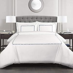 Lush Decor, Navy Hotel Geo 3 Piece Duvet Cover Set, Full/Queen