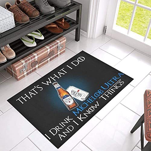 TeeKP Michelob Ultra Know Things Beer Doormat Non-Slip Welcome Mat Rug Bath Mat Entrance Carpet Front Door Bathroom Indoor Outdoors Floor Mat
