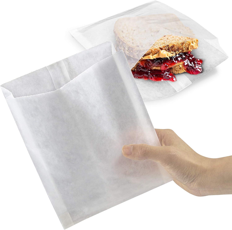 "[1000 Pack] Plain 7 x 6 x 1"" Wet Wax Paper Sandwich Bags, Food Grade Grease Resistant, White Glassine Semi Translucent"