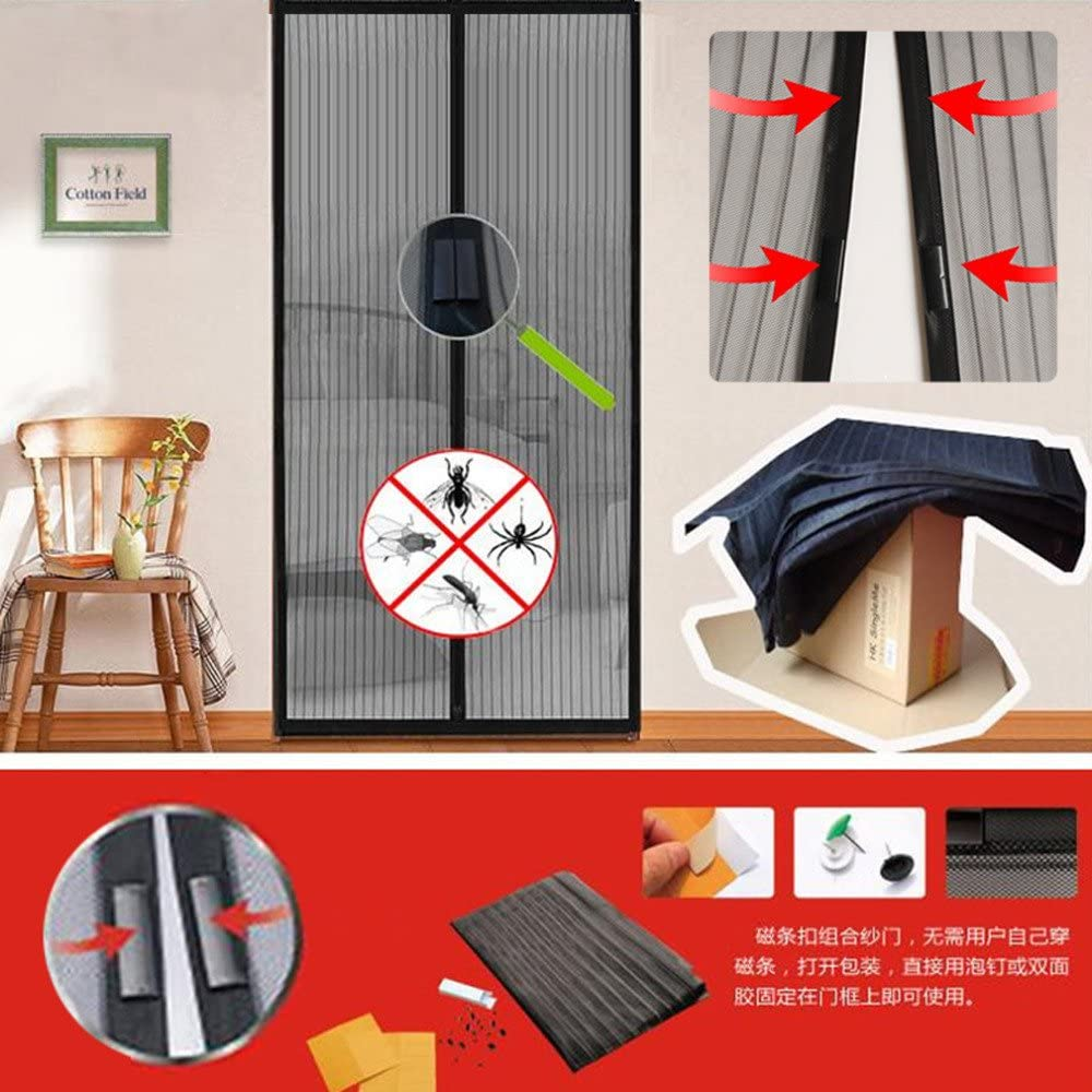 Cortina de mosquito anti mosquitos de verano para el hogar, la red magnética cierra automáticamente la cortina de la ventana de la ventana de la pantalla de la puerta A1 W80xH210