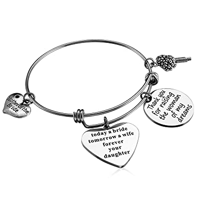 Hazado Wedding Gift for Mother of the Bride Bangle Bracelet Gift from Groom  to Mother-in-Law Wedding Thank You Gift