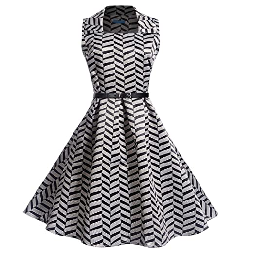 Lelili Women Vintage Prom Gown Dress Plaid Printed Square Collar Sleeveless Pleated Swing A-Line