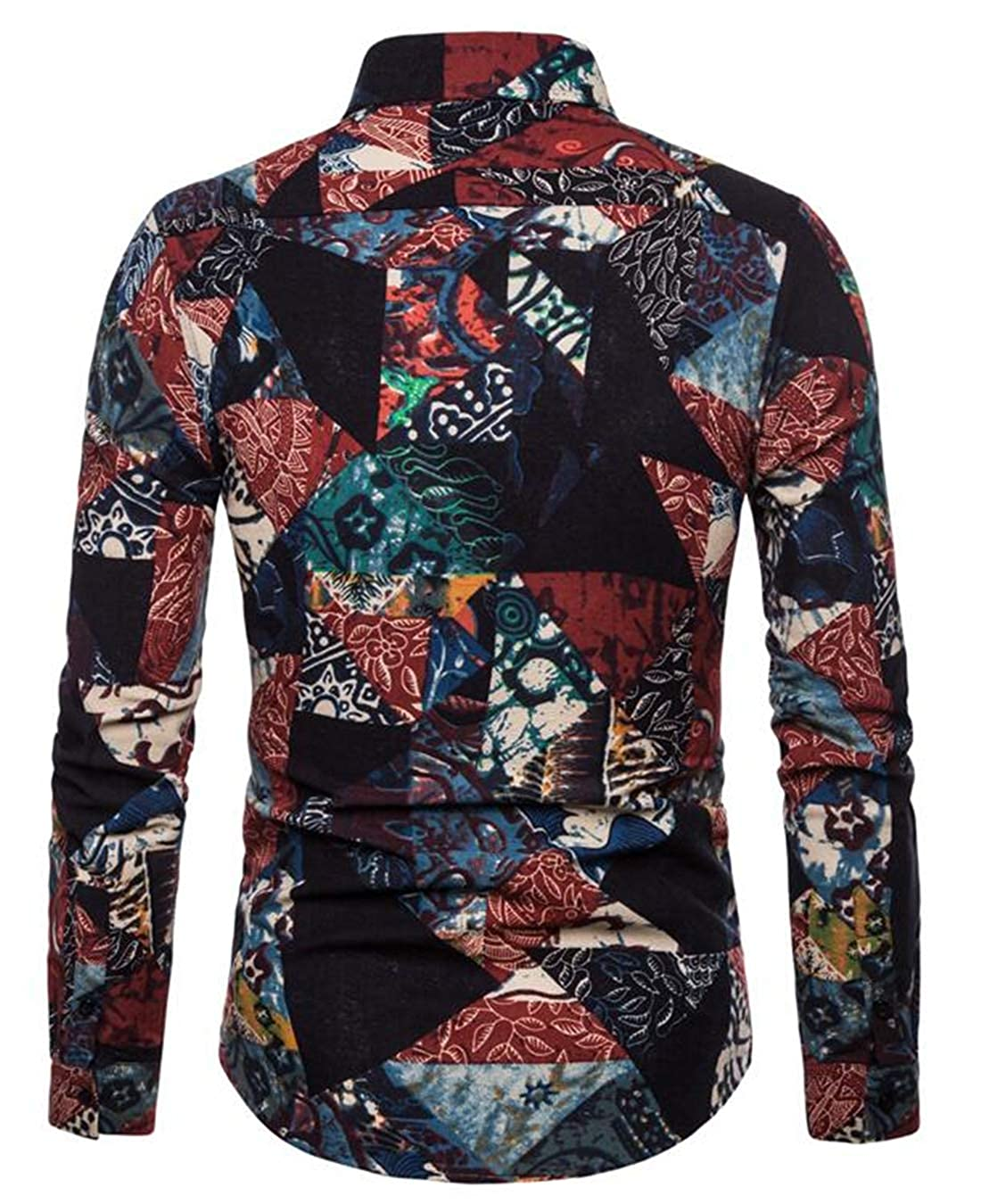 Wan-T Mens Casual Collared Contrast Color Long Sleeve Regular Fit Button Down Shirts