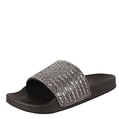 a1812aaf11c6 BAMBOO Womens Open Toe Jeweled Rhinestone Open Toe Slide Flat Sandal Shoe  Flip Flops Slipper 6