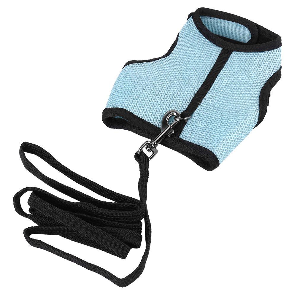 Fdit Arnés de Conejos 2 Colores Pequeños Animales Chaleco de Caminata de Seguridad para Mascotas con Correa de Plomo (Azul L)
