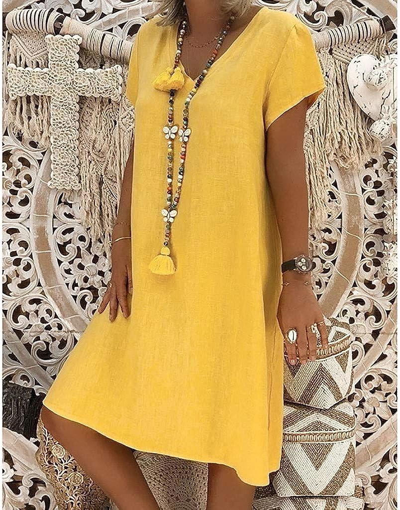 BOMING Summer T-Shirt Dress Women Vintage Bohemian Print Plus Size O-Neck Dresses