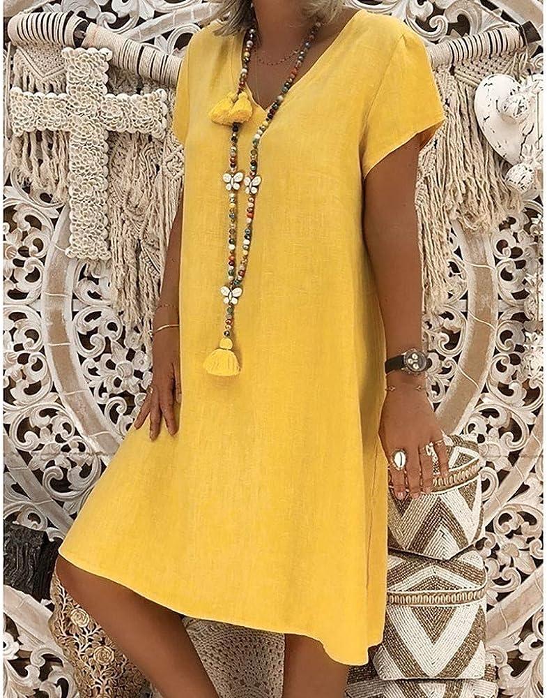 Vectry Vestidos De Mujer Tallas Grandes Vestidos Playa Niña Vestidos Largos Casual Estampados Vestidos Midi Vintage Vestido Corto Verano Vestidos Mujer Vestido Amarillo: Amazon.es: Ropa y accesorios