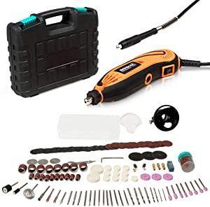 Goplus Rotary Tool Kit, with Flex Shaft, 139pcs Accessories and Carrying Case, 8,000-32,000RPM Variable Speed, Electric Drill Set for Crafting, Grinding, Cutting, Carving, Sanding and Engraving
