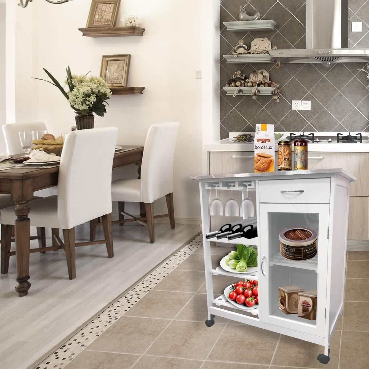 B76 * T48 * H88 cm EASEASE Carrello di stoccaggio della cucina Carrello di stoccaggio della cucina rimovibile da 4 strati Carrello da cucina con riserva di vino e ruote chiudibili a chiave
