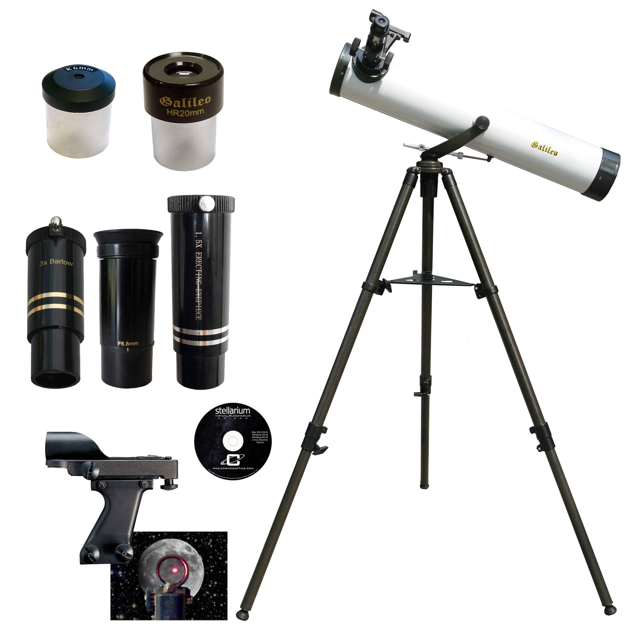 Galileo 800mm x 80mm Astronomical Telescope Kit with Zoom Lens by Galileo