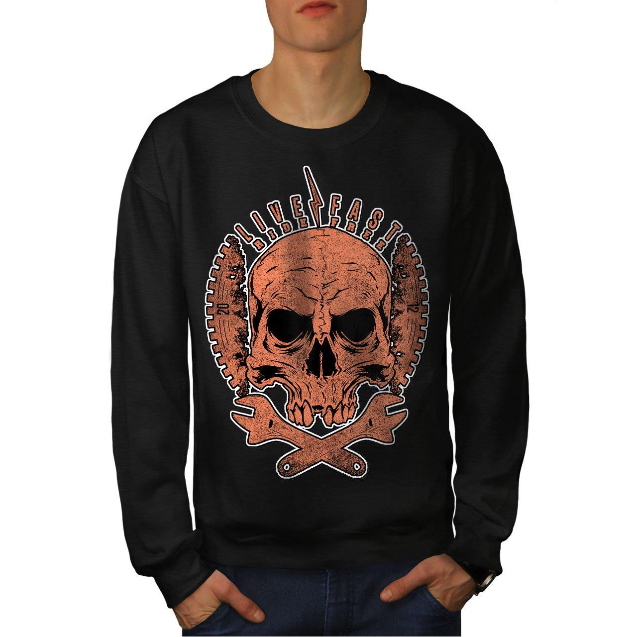 wellcoda Living Life Biker Skull Mens Sweatshirt Biker Casual Jumper