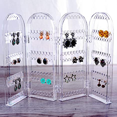 Earring Necklace Folding Hanging Holder Rack Acrylics Jewelry Display Stand