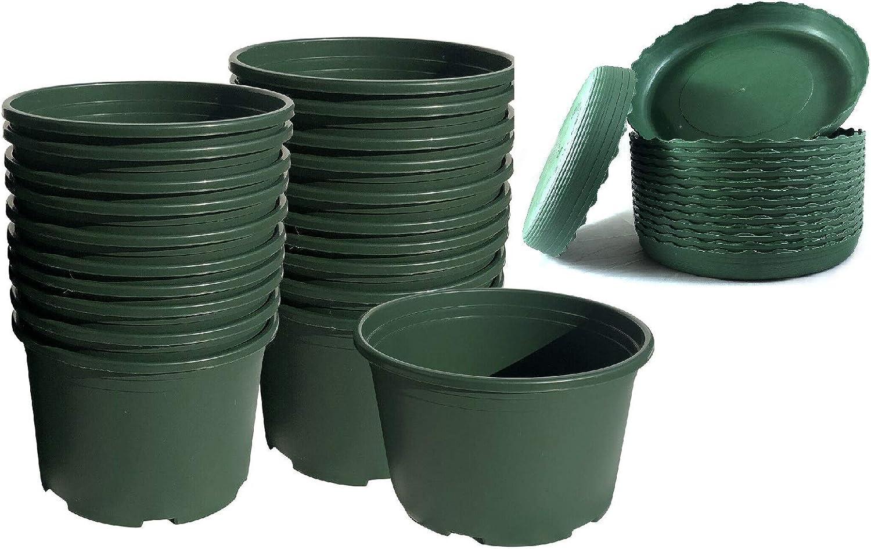 """HENGDELI 15 PCS/Diameter 7.8"""" x Height 5.51"""" Green Plastic Shallow Pots with Tray for Vegetable, Flower, Succulents Plants Nursery Seedling in Indoor Outdoor Garden"""