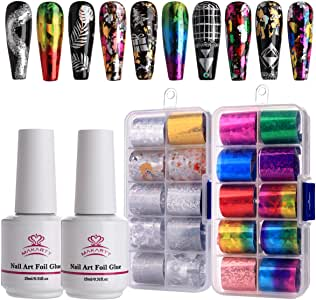 Makartt Nail Art Foil Glue Gel with Starry Sky Star Foil Stickers Set Nail Transfer Tips Manicure Art DIY 15ML, 20PCS (2.5cm60cm) Stickers, UV LED Lamp Required
