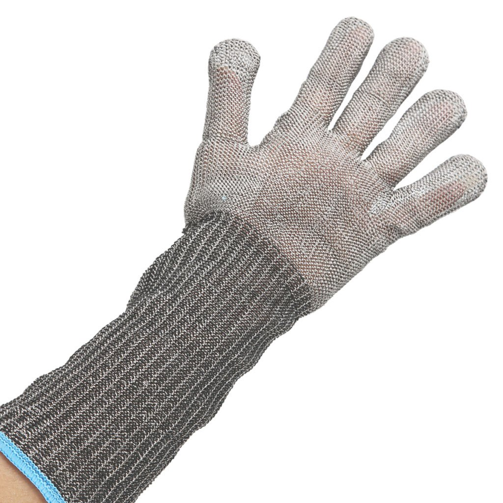 MOOLO Cut-proof Gloves Slaughter Clothing Clipping Cut-proof Protective Iron Gloves Stainless Steel Wire Labor Insurance Supplies(single Gloves)