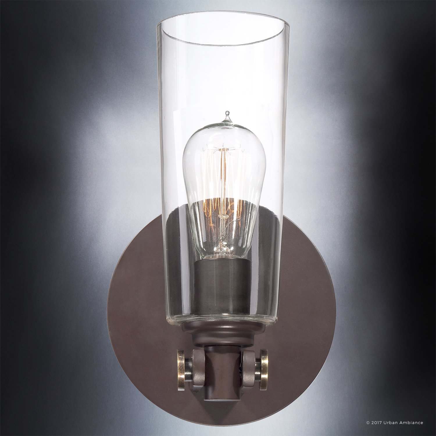 Luxury Vintage Indoor Wall Light, Small Size: 11''H x 6.5''W, with Casual Style Elements, Retro Design, Elegant Estate Bronze Finish and Clear Glass, Includes Edison Bulb, UQL2690 by Urban Ambiance by Urban Ambiance (Image #4)