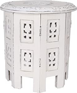 Solid Wood Hand Carved Accent Table, Side Table, Entryway Table, Side Tables for Small Spaces, Wooden End Table, Bedside Table, Octagonal Wooden Table- 12 Inch Round Top x 12 Inch High- White Antique