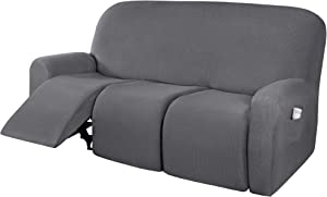 H.VERSAILTEX Super Stretch Recliner Sofa Covers Reclining Couch Covers Recliner Sofa Slipcovers 3 Seater Furniture Covers Thick Soft Jacquard Fabric Form Fitting and Easy Put On, Grey