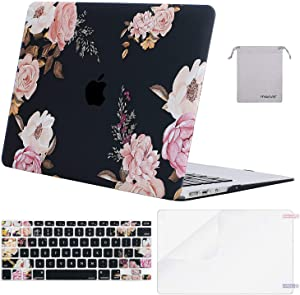 MOSISO MacBook Air 13 inch Case (A1369 A1466, Older Version 2010-2017 Release), Plastic Peony Hard Shell Case&Keyboard Cover&Screen Protector&Storage Bag Compatible with MacBook Air 13, Black