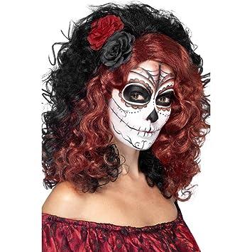 Peluca rizada con rosas Cabello español negro-rojo Cabellera larga mexicana Bisoñé Día de los
