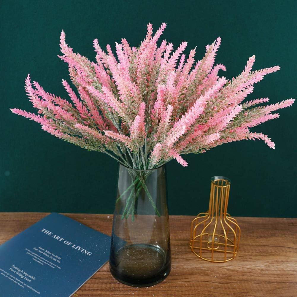 Artificial Flowers Outdoor Flocked Lavender Fake Plants 6 Bundles Wedding Bouquet Table Centerpieces for Home Kitchen Office Garden Patio Decoration Pink