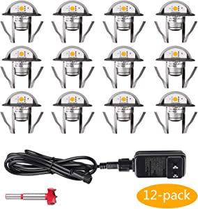 """12 Pack Low Voltage LED Deck Lights Kit Φ1.38"""" IP67 Waterproof Stairs Light for Landscape,Pathway,Step,Basement"""