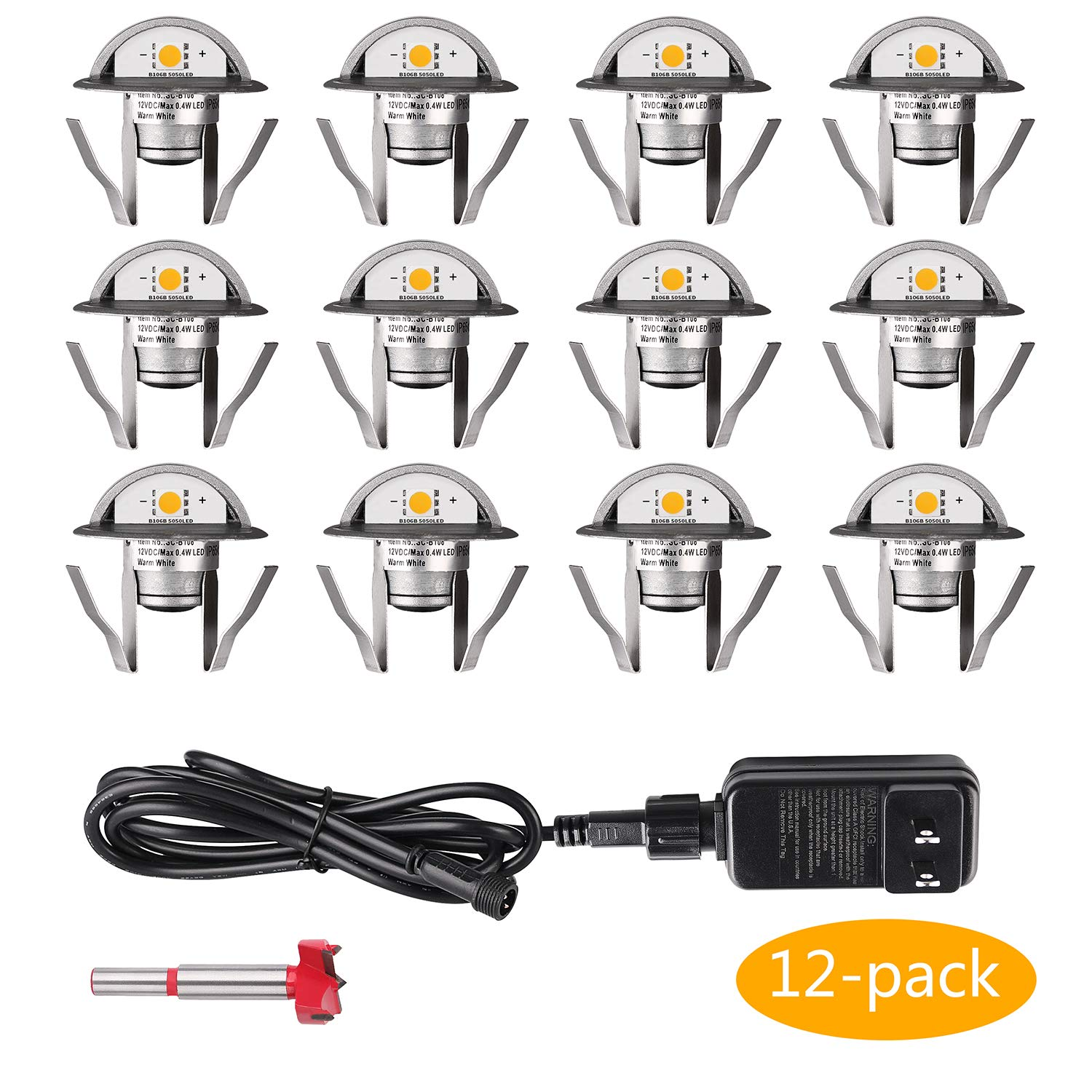 12 Pack Low Voltage LED Deck Lights Kit Φ1.38'' IP67 Waterproof Stairs Light for Landscape,Pathway,Step,Basement