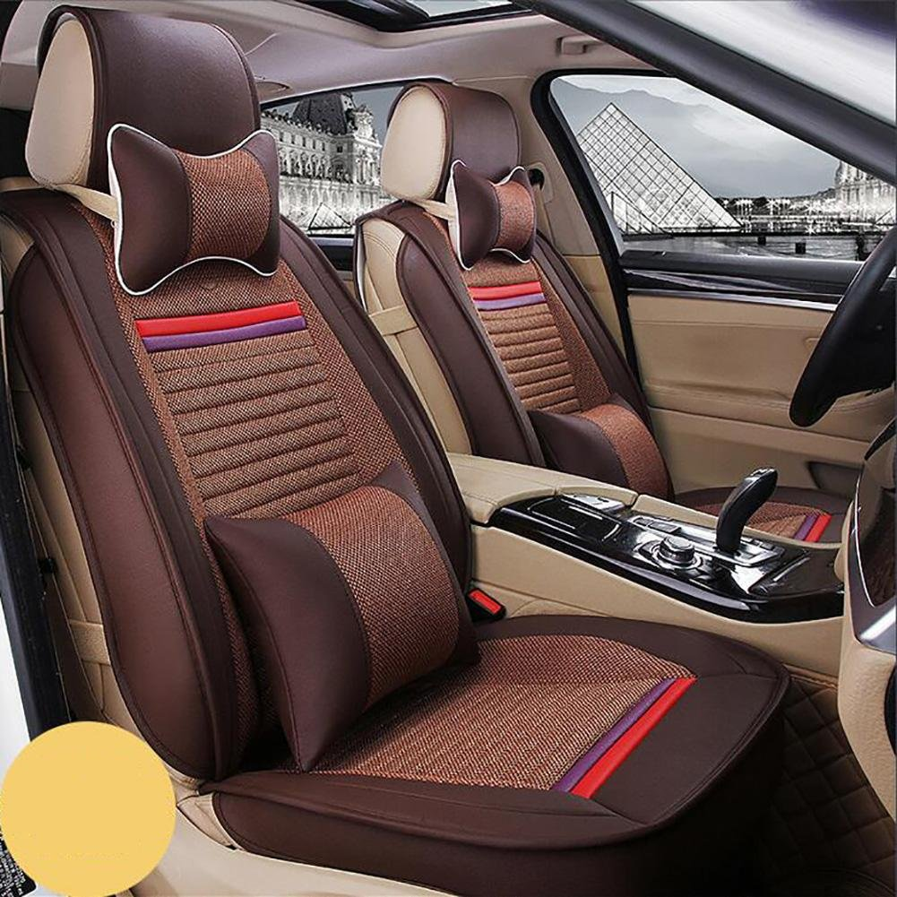Auto Accessories The New Car Seat Cushion Leather Seat Cover Four Seasons General Ice All Around Five Seats to 2 Seat Headrest Backrest, Brown