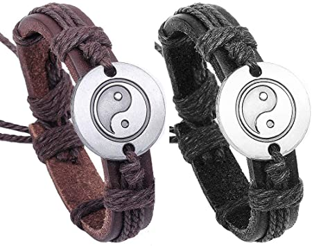 bracelet cuir ying yang