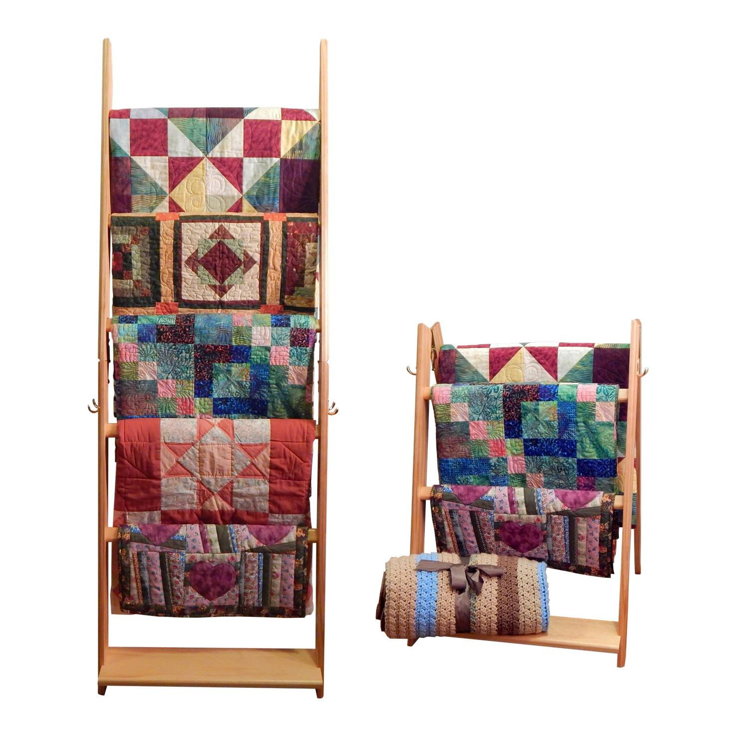 Built by Briick Quilting The LadderRack 2-in-1 Quilt Display Rack (5 Rung/24 Model/Golden Pecan)