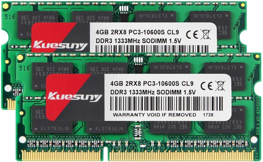 KUESUNY 8GB Kit (2x4GB) DDR3 1333MHz SODIMM PC3-10600 RAM for Apple MacBook Pro (Early/Late 2011), iMac (Mid 2010, Mid/Late 2011), Mac Mini (Mid 2011)