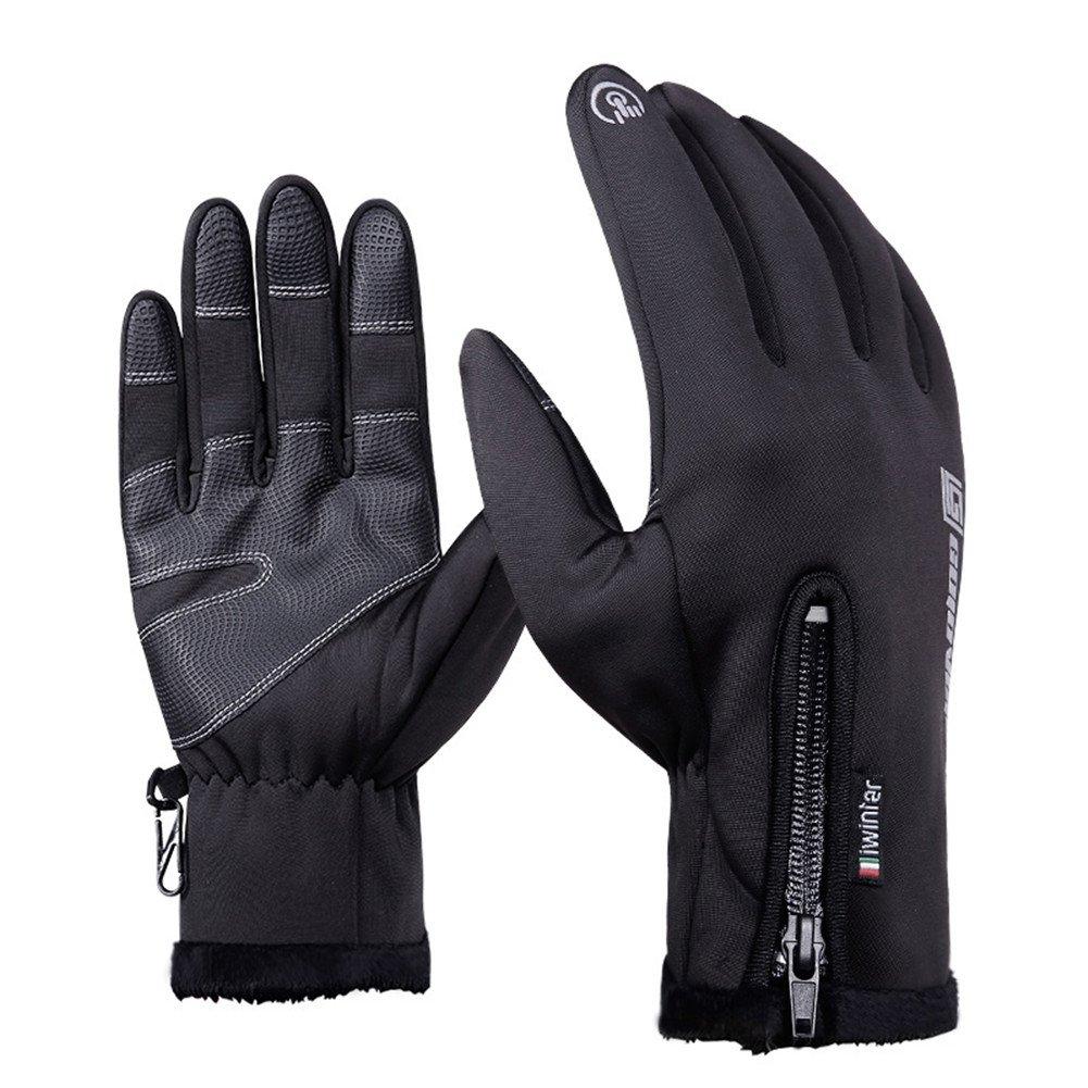 Guantes de invierno, sundlight deportes al aire libre térmico calentador guantes de pantalla táctil impermeable resistente al viento Forro polar unisex guantes para esquí, Motociclismo, Ciclismo, tres tamaño