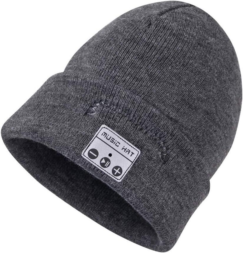 Happy-top Wireless Headphone Music Beanie Hat Winter Soft Warm Knit Cap with Stereo Headset Speaker Mic Hands Free for Men Women Outdoor Sports Skiing Running Skating New Dark Grey