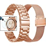 Valkit Compatible Galaxy Watch 42mm Band, 2 Pack Rose Gold Sets, 20mm Stainless Steel Solid Wrist Bands Business Bracelet Metal Strap Replacement for Samsung Galaxy Watch 42mm/Galaxy Watch Active 40mm