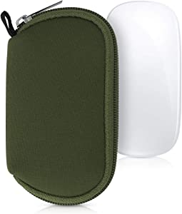 kwmobile Neoprene Pouch Compatible with Apple Magic Mouse 1/2 - Storage Carrying Case Dust Cover with Zipper - Dark Green