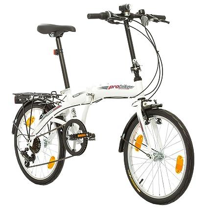 Multibrand, PROBIKE FOLDING 20, 20 pollici, 310 mm, City Bike pieghevole, 6 velocità, Unisex, anteriore e posteriore Mudgard, Shimano, Bianco Rosso
