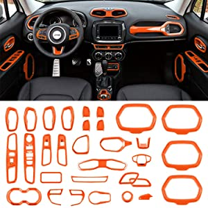 Danti Car Interior Accessories Decoration Trim Air Conditioning Vent Decoration & Door Speaker & Water Cup Holder & Headlight Switch & Window Lift Button Covers for Jeep Renegade 2015-2018 (Orange)