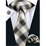 Barry.Wang Ties Check Mens Necktie Set with Hanky Cufflinks Classic