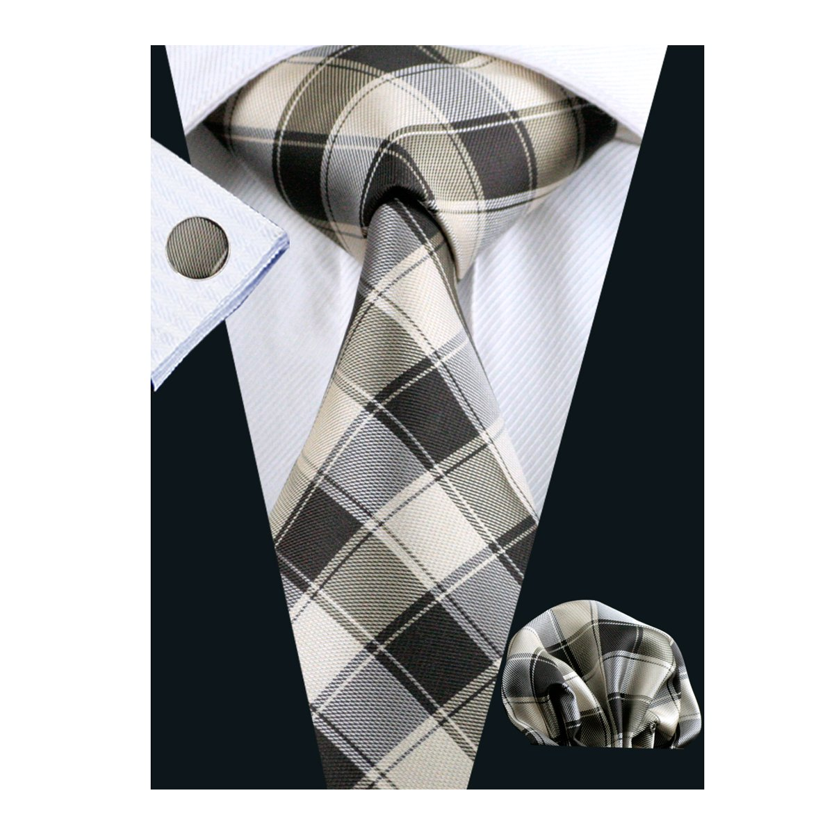 Barry.Wang Ties Check Mens Necktie Set with Hanky Cufflinks Classic FBASN-229