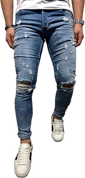 Mens Skinny Jeans Ripped Stretch Fit Denim Biker All Waist Distressed Pants UK